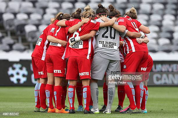 Melbourne City team mates huddle during the round four WLeague match between Canberra United and Melbourne City FC at Central Coast Stadium on...