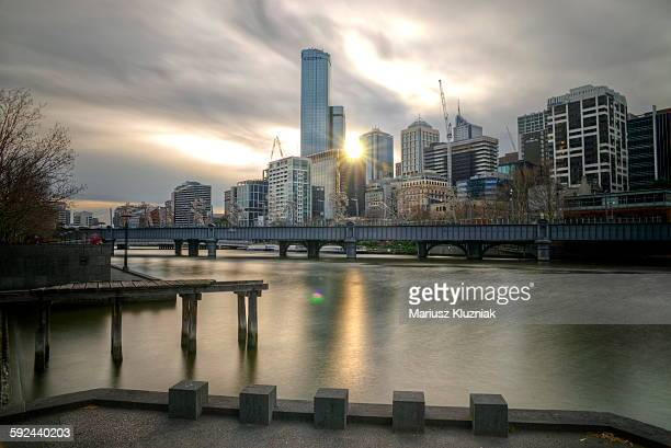 Melbourne city view from Southbank at sunset