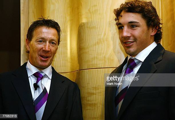Melbourne Coach Craig Bellamy and Billy Slater of the Stoem look on during the 2007 NRL Grand Final breakfast at the Westin Hotel on September 27...