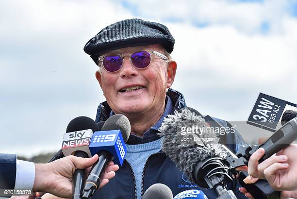 Melbourne Cup winne part owner Lloyd Williams talks with the media at Macedon on November 02 2016 in Macedon Australia