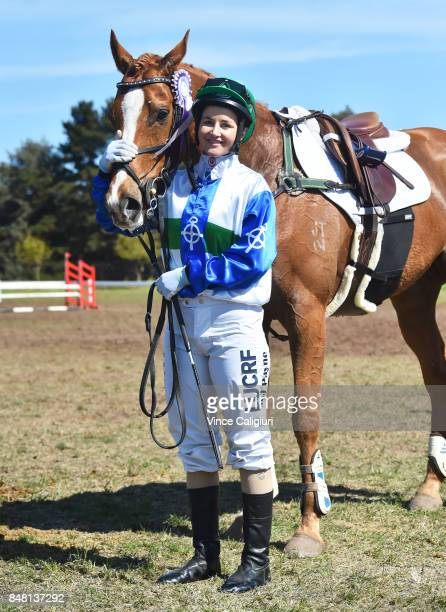 Melbourne Cup winning Jockey Michelle Payne after riding Archie poses after competing in the AllStars Jockey Challenge as part of the Australian...