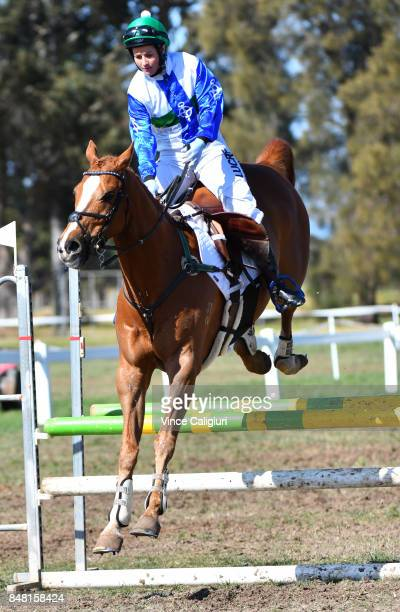 Melbourne Cup winning Jockey Michelle Payne riding Archie jumps in the warm up area before competing in the AllStars Jockey Challenge as part of the...