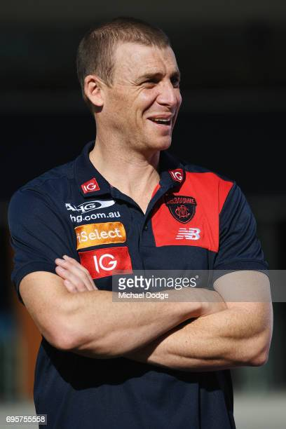 Melbourne Demons head coach Simon Goodwin looks on during an AFL media opportunity for Men's Health Wellness Week at the Melbourne Cricket Ground on...
