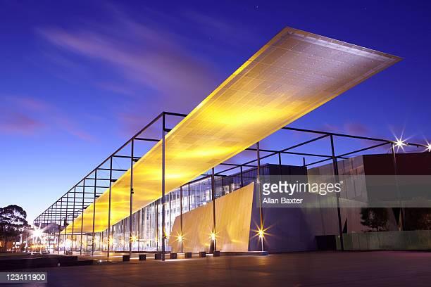 Melbourne Museum illuminated at night