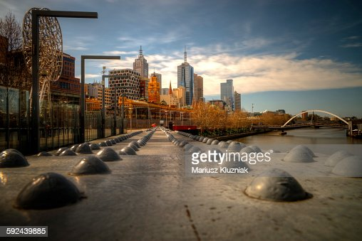 Melbourne pedestrian footbridge and city view