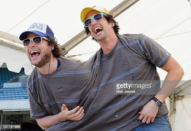 Melbourne radio presenters Hamish Blake and Andy Lee of Hamish Andy laugh during a Thank You Tour to celebrate five years of the show on November 29...