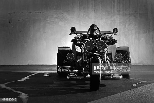Melbourne Rebels CEO Rob Clarke poses on his Harley Davidson Trike at AAMI Park on February 26 2014 in Melbourne Australia