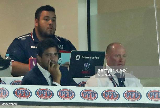 Melbourne Rebels head coach Tony McGahan looks on in the coaches box during the round four Super Rugby match between the Rebels and the Chiefs at...