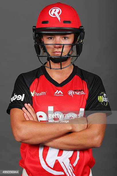 Melbourne Renegades BBL Women's cricketer Danni Wyatt poses after her hit in the nets with former England cricketer Andrew Flintoff during a nets...