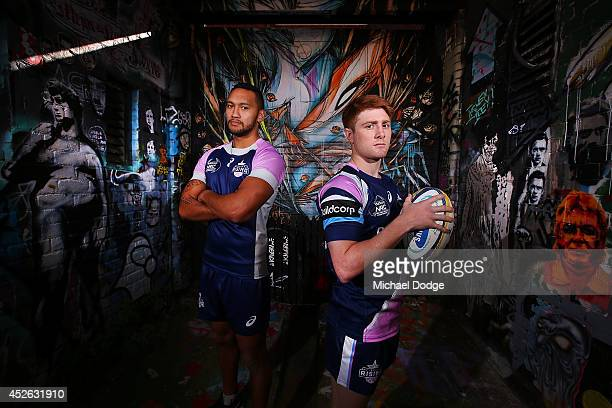 Melbourne Rising players Nic Stirzaker and Joe Kamana pose during the launch of the Melbourne Rising inaugural National Rugby Championship season at...