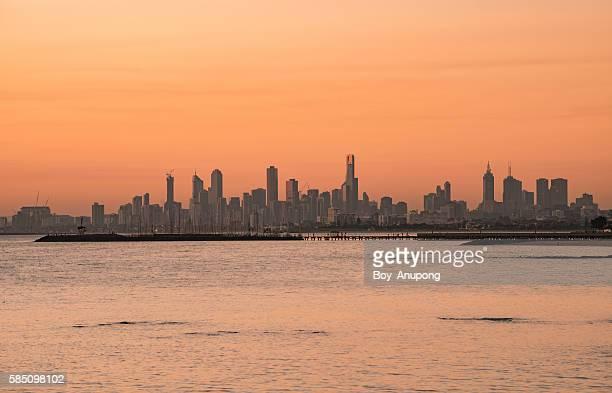Melbourne skyline view from Brighton beach.