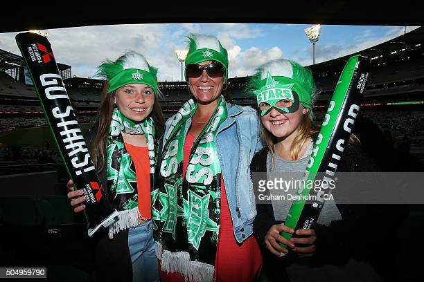 Melbourne Stars fans show their support during the Big Bash League match between the Melbourne Stars and the Brisbane Heat at Melbourne Cricket...