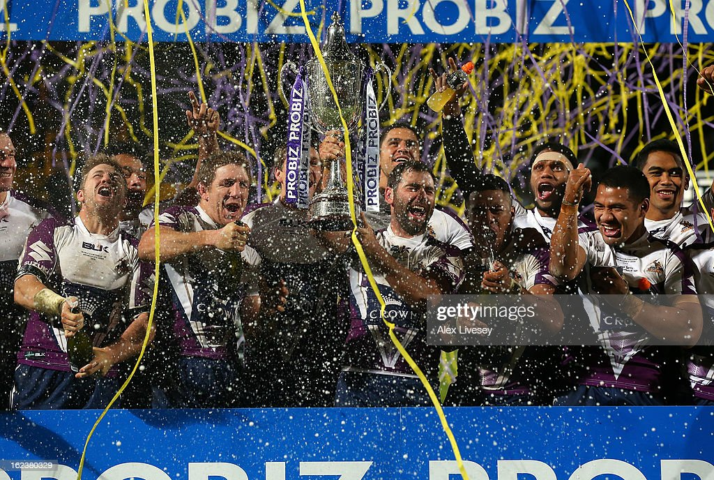 Melbourne Storm celebrate after winning the World Club Challenge match between Leeds Rhinos and Melbourne Storm at Headingley Carnegie Stadium on February 22, 2013 in Leeds, England.