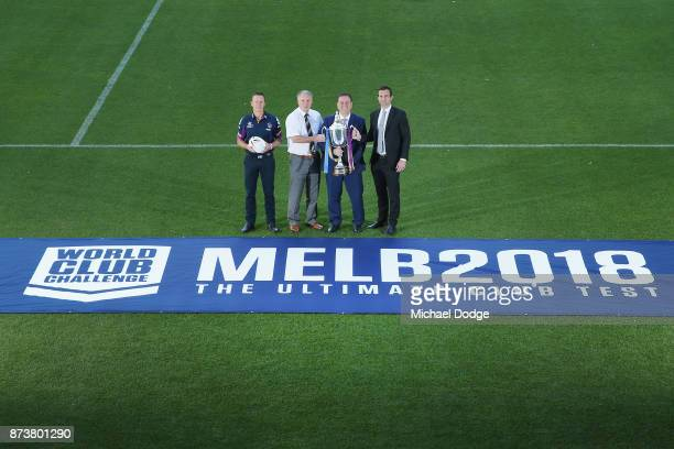 Melbourne Storm Head Coach Craig Bellamy Leeds Rhino's CEO Gary Hetherington Sports Minister John Eren MP and Storm CEO Dave Donaghy pose with the...