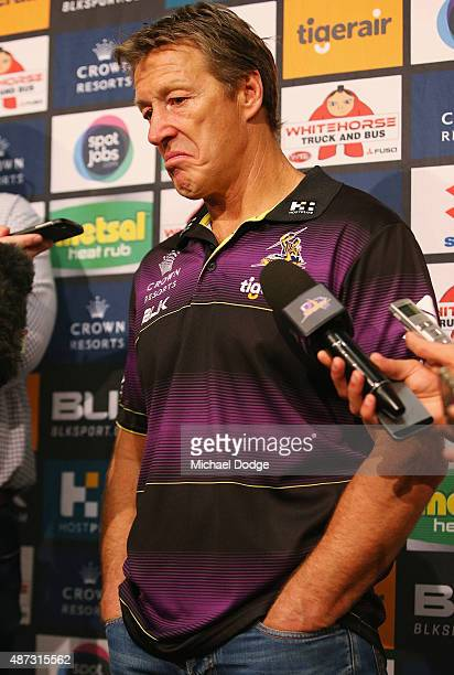 Melbourne Storm NRL coach Craig Bellamy reacts to a question from the media during a press conference at AAMI Park on September 9 2015 in Melbourne...