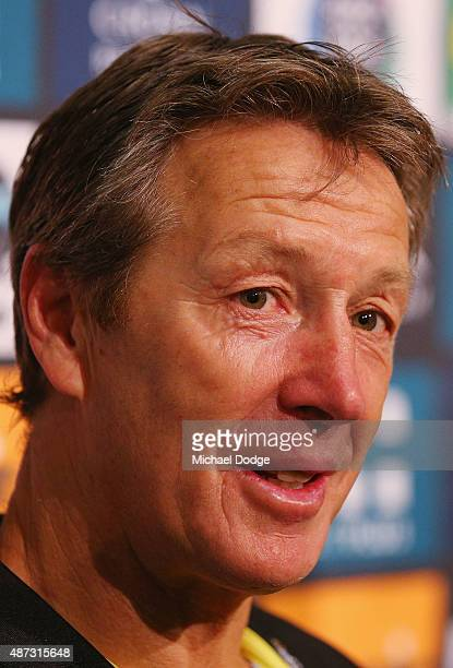 Melbourne Storm NRL coach Craig Bellamy speaks to the media during a press conference at AAMI Park on September 9 2015 in Melbourne Australia