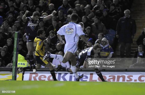 Melbourne Storm's Ryan Hoffman scores the first try against Leeds Rhinos during the Carnegie World Club Challenge match at Elland Road Leeds