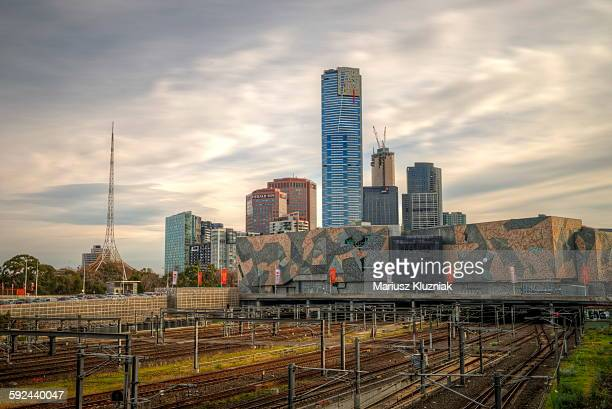 Melbourne train tracks, modern theatre and Eureka