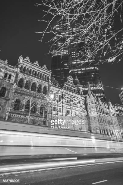 Melbourne tram at night