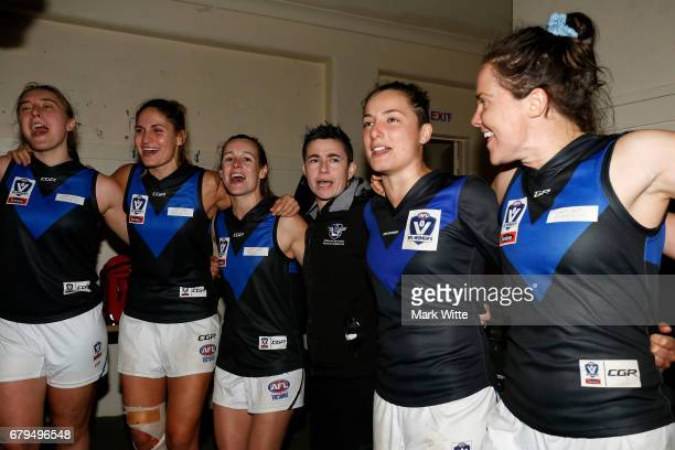 Melbourne Uni celebrate by singing the song after the round one VFL Women's match between the Darebin Falcons and Melbourne Uni at Bill Lawry on May...