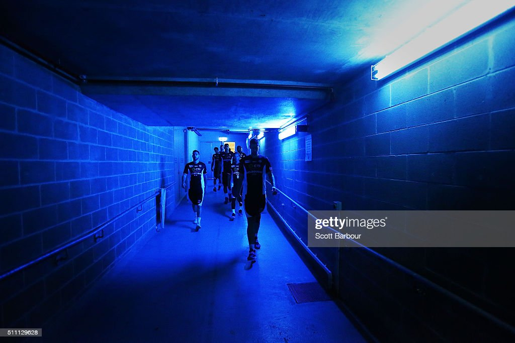 Melbourne United players leave their changing rooms and walk to the entrance of the court during the NBL Semi Final match between Melbourne United...