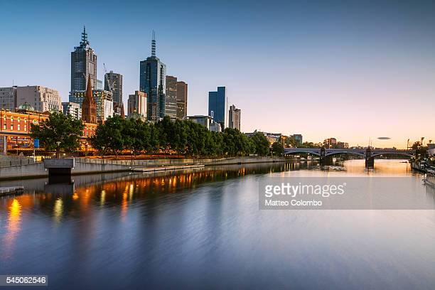 Melbourne, Victoria, Australia. Yarra river and city at sunrise