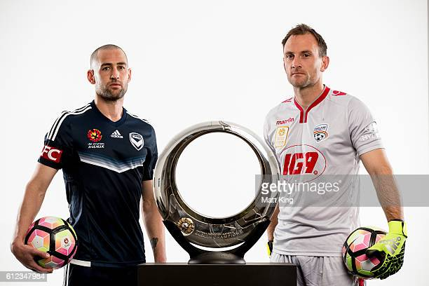 Melbourne Victory captain Carl Valeri and Adelaide United captain Eugene Galekovic pose during the 2016/17 ALeague Season Launch at ANZ Stadium on...