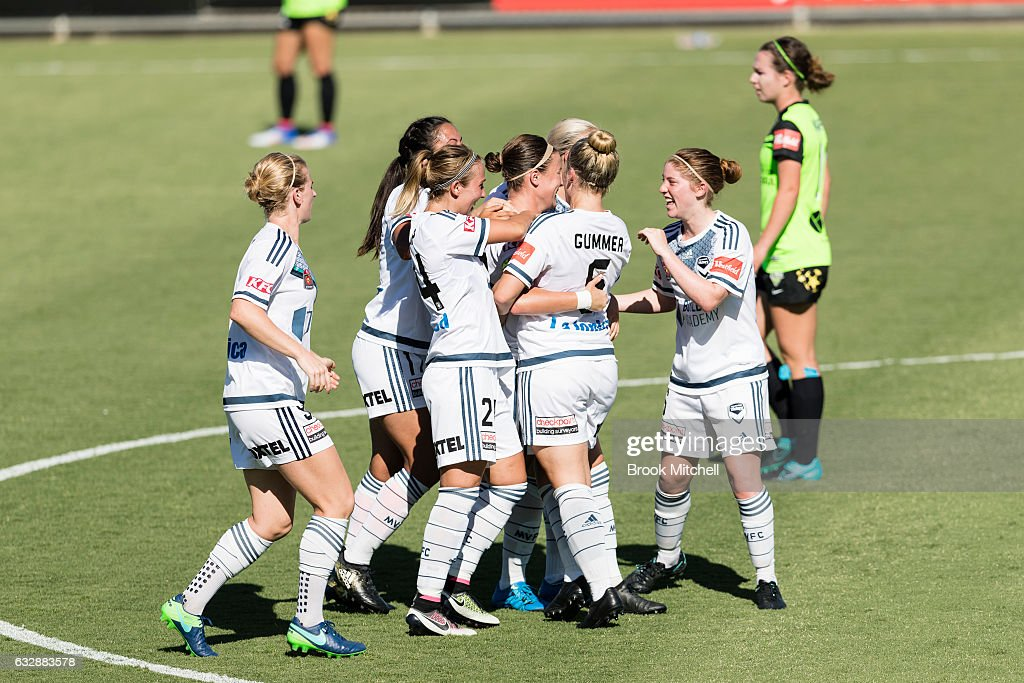 Melbourne Victory celebrate scoring their only goal during their 1-5 loss during the round 14 W-League match between Canberra United and Melbourne Victory at McKellar Park on January 28, 2017 in Canberra, Australia.