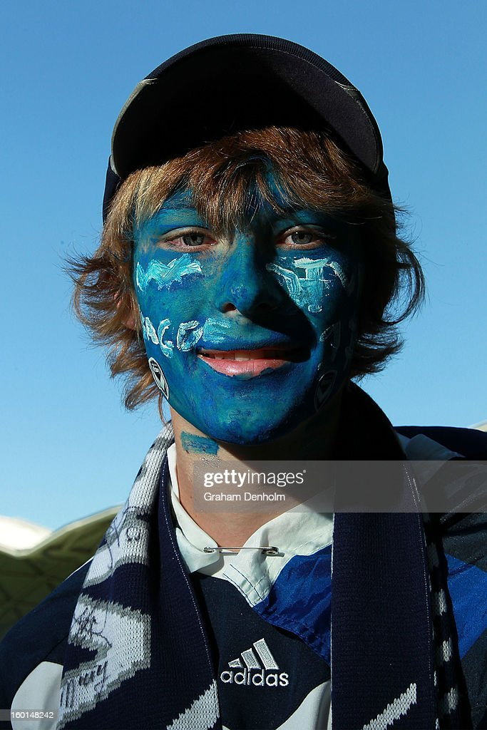 A Melbourne Victory fan shows his support prior to the W-League Grand Final between the Melbourne Victory and Sydney FC at AAMI Park on January 27, 2013 in Melbourne, Australia.
