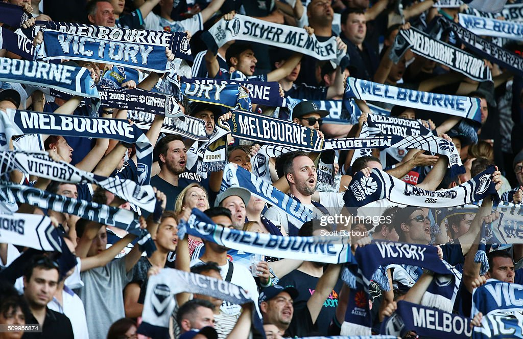 Melbourne Victory fans in the crowd show their support during the round 19 A-League match between Melbourne City FC and Melbourne Victory at AAMI Park on February 13, 2016 in Melbourne, Australia.