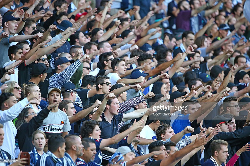 Melbourne Victory fans in the crowd watch the match during the round 19 A-League match between Melbourne City FC and Melbourne Victory at AAMI Park on February 13, 2016 in Melbourne, Australia.