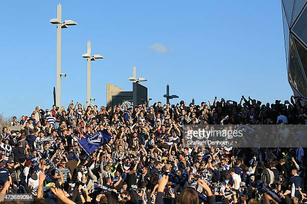 Melbourne Victory fans show their support as they arrive for the 2015 ALeague Grand Final match between the Melbourne Victory and Sydney FC at AAMI...