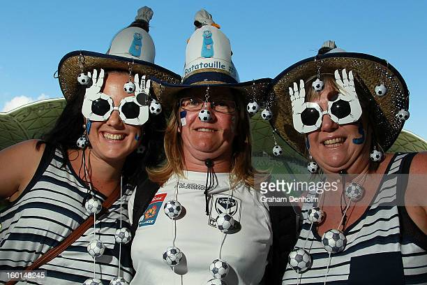 Melbourne Victory fans shows their support prior to the WLeague Grand Final between the Melbourne Victory and Sydney FC at AAMI Park on January 27...