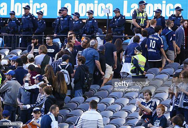 Melbourne Victory fans stage a walk out during the round eight ALeague match between Melbourne City FC and Adelaide United at Etihad Stadium on...