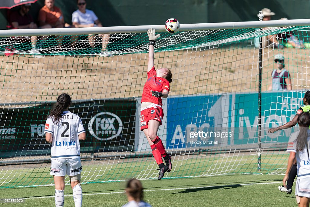 Melbourne Victory keeper Emily Kenshole makes a save during the round 14 W-League match between Canberra United and Melbourne Victory at McKellar Park on January 28, 2017 in Canberra, Australia.