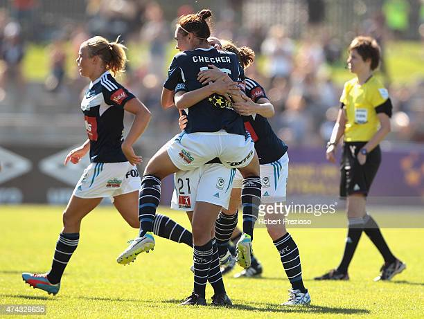 Melbourne Victory players celebrate after winning the WLeague Grand Final match between the Melbourne Victory and the Brisbane Roar at Lakeside...