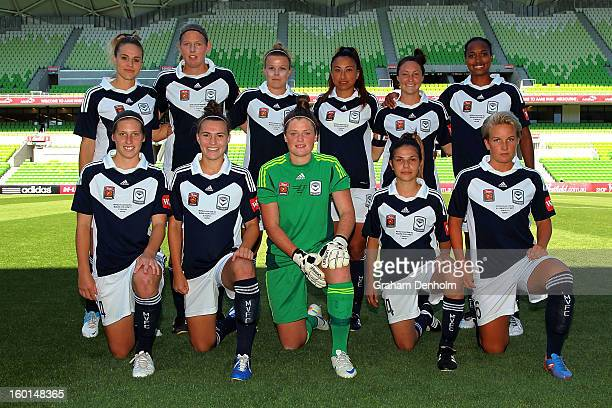 Melbourne Victory pose prior to the WLeague Grand Final between the Melbourne Victory and Sydney FC at AAMI Park on January 27 2013 in Melbourne...