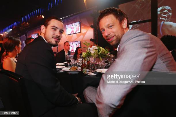 Melbourne's Chris Goulding and David Anderson pose during the 2017 NBL MVP Awards Night at Peninsula on February 13 2017 in Melbourne Australia