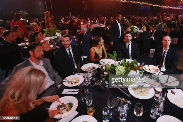 Melbourne's Chris Goulding and David Anderson relax during the 2017 NBL MVP Awards Night at Peninsula on February 13 2017 in Melbourne Australia