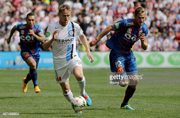 Melbournes Damien Duff during the round two ALeague match between Melbourne City and the Newcastle Jets at AAMI Park on October 19 2014 in Melbourne...