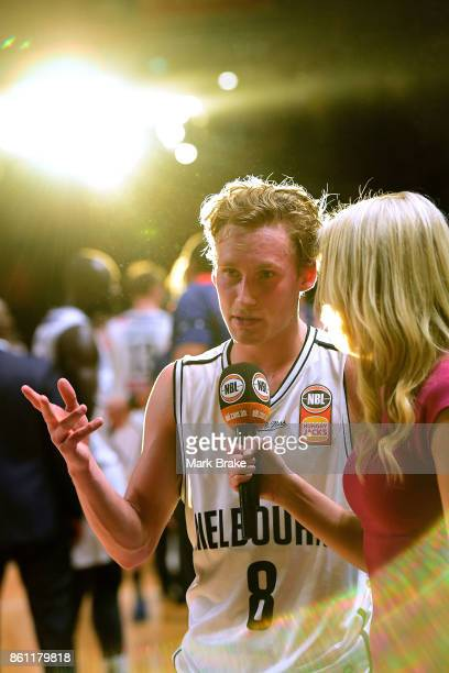 Melbourne's Kyle Adnam speaks to tv after the game during the round two NBL match between the Adelaide 36ers and Melbourne United at Titanium...