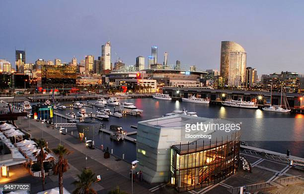 Melbourne's skyline showing New Quay in the foreground is seen from the Docklands precinct of Melbourne Australia on April 30 2007