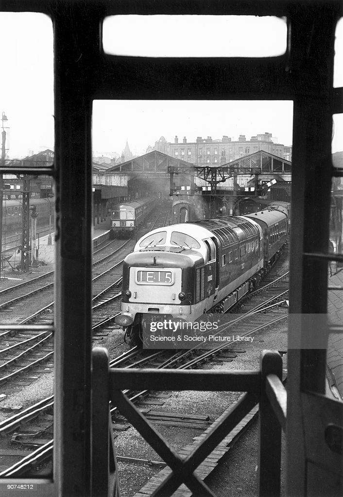 ?Meld', a Class 55 'Deltic' diesel locomotive No 9003 with a southbound passenger train. The photographer, Bishop Eric Treacy, was often allowed special access to areas denied to many railway photographers and composed this shot through the signal box doorway.