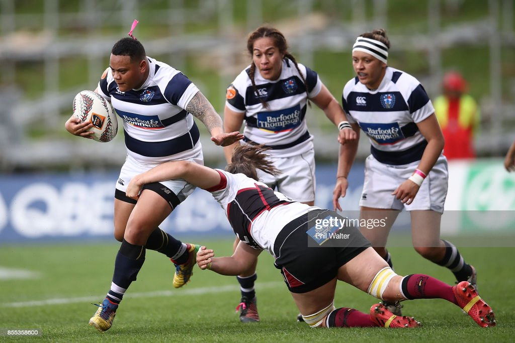 Mele Hufanga of Auckland is tackled during the round five Farah Palmer Cup match between North Harbour and Auckland at QBE Stadium on September 29, 2017 in Auckland, New Zealand.