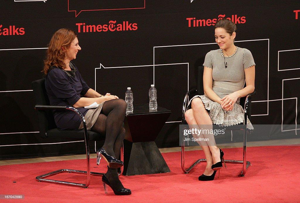 Melena Ryzik and actress Marion Cotillard attend TimesTalk Presents An Evening With Marion Cotillard, Matt Damon & Gus Van Sant at TheTimesCenter on November 27, 2012 in New York City.