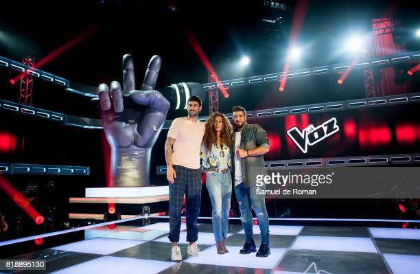 Melendi Rosario Flores and Antonio Orozco during 'La Voz' 5th Edition and 'La Voz Kids' 4th Edition Presentation on July 19 2017 in Madrid Spain