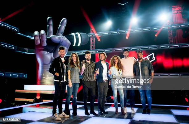 Melendi Rosario Flores Antonio Orozco Malu Pablo Alboran Juanes and Manuel Carrasco during 'La Voz' 5th Edition and 'La Voz Kids' 4th Edition...