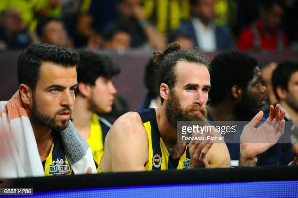 Melih Mahmutoglu #10 of Fenerbahce Istanbul and Luigi Datome #70 of Fenerbahce Istanbul during the Turkish Airlines EuroLeague Final Four Semifinal A...