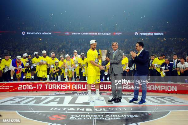 Melih Mahmutoglu #10 of Fenerbahce Istanbul celebrates during the 2017 Final Four Istanbul Turkish Airlines EuroLeague Champion Trophy Ceremony at...