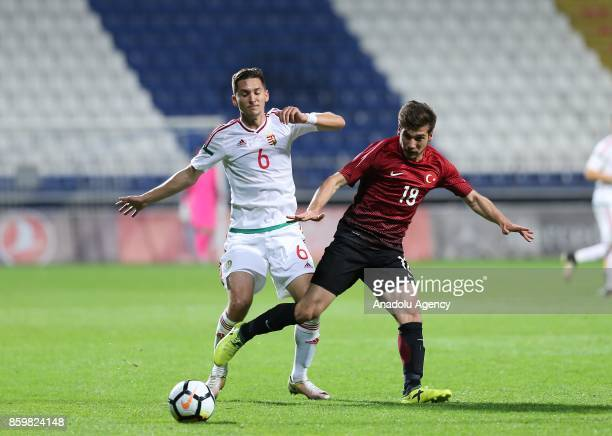 Melih Okutan of Turkey in action against Mate Vida of Hungary during the 2017 UEFA European Under21 Championship qualification Group 6 football match...